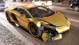 Crash Gold Lamborghini Aventador Poland 2017