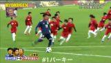 3 professional footballers vs 100 children