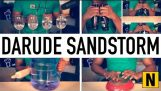 DARUDE – SANDSTORM on beer bottles, wine glasses, a water jug and a frying pan