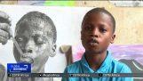 Realistic drawings of Waris Kareem, an 11-year-old Nigerian child