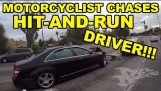 MOTORCYCLIST CHASES HIT-AND-RUN DRIVER