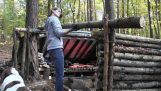 Building a shelter in the forest