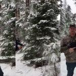 Ένας Αμερικάνος κόβει το χριστουγεννιάτικο δέντρο του