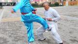 कुंग फू के एक मास्टर द्वारा शक्ति प्रदर्शन