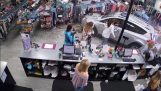 A toddler saves miracle, after the car entrance in shop