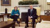 Donald Trump weigert om handen te schudden met Angela Merkel