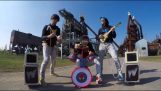 Rage Against The Machine with children's musical instruments