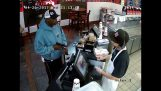 A very calm clerk during a robbery