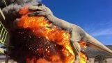 Μηχανικός τυρανόσαυρος παίρνει φωτιά