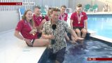 BBC presenter falls into pool