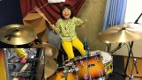 A girl of 8 years from Japan playing Led Zeppelin on drums