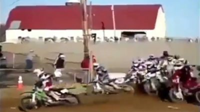 Rider Loses His Motorcycle In A Motocross Race