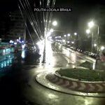Θεαματικό άλμα αυτοκινήτου σε κυκλικό κόμβο