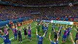 Η ομάδα της Ισλανδίας πανηγυρίζει τη νίκη με τους οπαδούς της