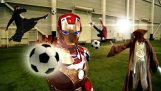 The superheroes play soccer