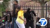 A mother captures the taraxia son in demonstrations of Baltimore