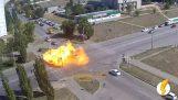 Ανάφλεξη δεξαμενής υγραερίου μετά από ατύχημα