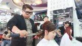 Haircut with Katana Sword