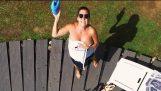 Drone SPY Helicopter Woman on Pool – Goes Terribly Wrong! DJI Phantom 4 Crash