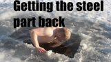 氷に対する熱い鋼 – どのように湖からロッドを持っています