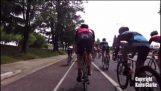 A drone drops a cyclist