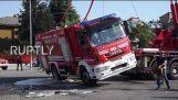 Firefighter truck flips over