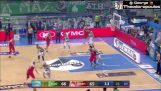 The three pointers of d. Diamantidis and v. Spanoulis at Panathinaikos FC – Olympiakos 66-68 (1-1)