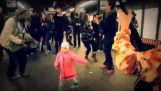 Dancing girl in a subway station