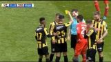 Referee receives a yellow card