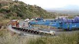 Μεταφορά τουρμπίνας 600 τόνων σε στροφή φουρκέτα στην Τρίπολη