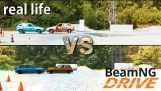 simulador BeamNG comparación con la prueba de accidente real
