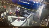 Metal rods in CNC lathe causes accident