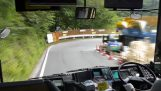 A bus driver in Japan drifts on a mountain road