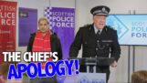 Um policial tenta não ofender ninguém durante seu discurso