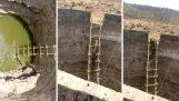Bybor rädda en leopard från brunnen med en stege