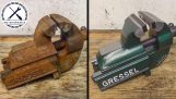 The restoration of an old rusty vice