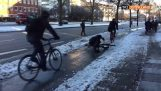Triple fail cyclists on icy road