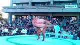 Bir sumo savaşı ters gider