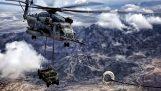 Στρατιωτικό ελικόπτερο ανεφοδιάζεται στον αέρα ενώ μεταφέρει ένα Hummer