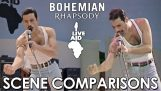 "Comparison between the actual concert Live Aid and the film ""Bohemian Rhapsody"""
