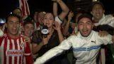 Δημοσιογράφος χτυπά έναν οπαδό με το μικρόφωνο