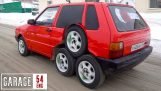 A Fiat Punto with 8 wheels