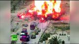 टैंक मिस्र चौकी पर बड़े पैमाने पर विस्फोट से पहले हमलावरों से भरा कार कुचल