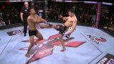 MMA 전투기 바위 놀라운 프론트 킥 Ko를 가진 그의 상대!