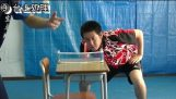 Ping pong on a school desk