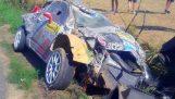 Big Crash Robert Consani Barum Rally 2015 (Slow Motion) HD
