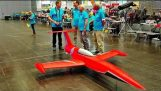"The world's first ""giant"" radio control plane ready to fly in-door powered by turbine"