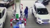 Reckless driver destroys a petrol pump