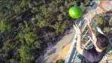 A watermelon sprayed with Line-X, falls from a height of 45 meters