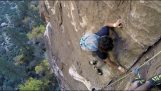 Escalador sin equipo adelanta experimentado escaladores a 92 metros